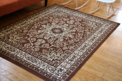 Generations Oriental Traditional Isfahan Persian Area Rug, 0.6m x 0.9m, Brown