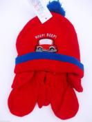 BNWT Boys warm winter hat & mitten set with beep beep design