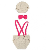 Jastore Photography Prop Baby Infant Rose Bow Crochet Knitted Costume