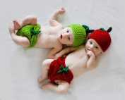 Jastore 2 Pieces Twins Photography Prop Baby Infant Apple Crochet Knitted Costume Green Red