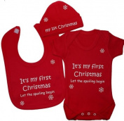 It's My First Christmas Let The Spoiling Begin Baby Bodysuit/Romper/T-Shirt With Princess Feeding Bib & Hat/Cap Set 0 to 12 Months