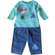 6-12 months - Baby Boys Outfit - Adorable Green Striped Little Indian Boy with Wigwam Long-sleeved Top & Blue Denim Trousers Set / Babies Clothes