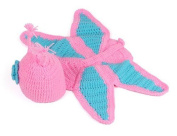 EBASE Baby Girl Crochet Butterfly Flower Hat Costume Photography Pink & Light