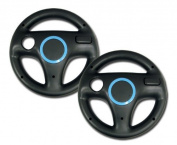 Nintendo Wii Wheel for Mario Kart (Black) x 2 Bundle