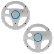 GTMax 2 Pack White Mario Racing Steering Driving Wheel for Nintendo Wii