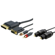 eForCity® Compatible With Xbox 360 Slim HD VGA Cable with Audio Port+1.8m Optical Toslink Cable Quick