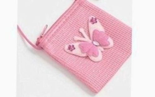 (Baby pink) - Childrens beautiful butterfly sparkly purse / hand bag, with long