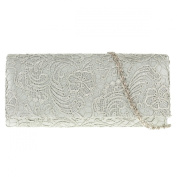 UKFS Floral Lace Pattern Clutch Bag / Ladies Girls Designer Wedding Shoulder Bag / Evening Bag (Amethyst)