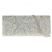 UKFS Floral Lace Pattern Clutch Bag / Ladies Girls Designer Wedding Shoulder Bag / Evening Bag (Amethyst)