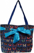 Butterfly Print with Bow Lined Zip Fastening Tote Canvas Bag