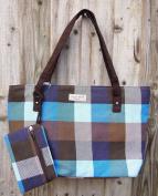 Blue Tartan Cheque Stripe Canvas Holiday Tote Bag