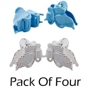 2 Pack (Set of 4 Hair Catcher Grips) 4.5cm, Butterfly Design Hair Clip-Claw-Clamp Sky Blue, White/Grey