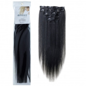 Emosa 7Pcs 70g Clip In Silky Soft Remy Real Human Hair Extensions 60cm #1 Jet Black