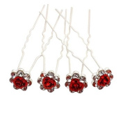 Monkeybrother Beautiful Red Rose Flower Crystal Hair Pins for Bridal Prom Wedding