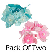 2 Pack 10.5cm Satin Fabric Flower Hair Band Tie with Plastic Pearls Turquoise Blue, Pink