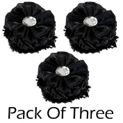 3 Pack Rhinestone Flower Hair Scrunchies Ponytail Holder Hair Tie Band Black