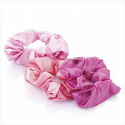 GIZZY® Ladies Girls Set of 3 Satin Hair Scrunchies in Shades of Pink.