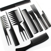 10Pc Salon Hair Styling Hairdressing Hairdresser Barber Plastic Combs Set .