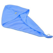 1PC Magic Microfiber Hair-Drying Towel Cap Bath Head Wrap - Blue