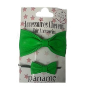 Paname-Paris Duo Leather Hair Clip Green Flashy