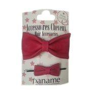 Paname-Paris Duo Leather Hair Clip Pink Fushia