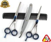 Left Hand Professional Haircutting Scissors & Thinner Hairdressing Shears Set Left Handed 14cm JAPANESE STEEL RAZOR EDGED with HQ Shaving Razor
