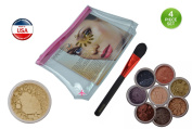 """(Bundle of 4 Items) Itay Mineral 1x Travel Size 2.5 Gramme Foundation in Mf10 Pan Dulce+ 8 Stack Eye Shimmers in """"Best 4 Green Eyes""""+foundation Brush+aeroplane Travel Cosmetic Bag"""