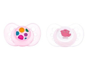 Two pink pacifiers anatomical size 1 silicone Teat. Kiokids 1167