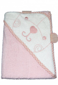 New Pink 'Bear' hooded bath towel for baby girl by Snuggle Baby 75cm by 75cm