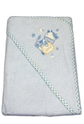New Blue Teddy hooded bath towel for baby boy by Snuggle Baby 75cm by 75cm