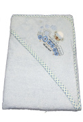 New Blue Train hooded bath towel for baby boy by Snuggle Baby 75cm by 75cm