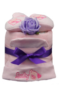 New Pink & Purple 1 Tier 'Baby Bear' Nappy Cake for Baby Girl - shower, maternity gift