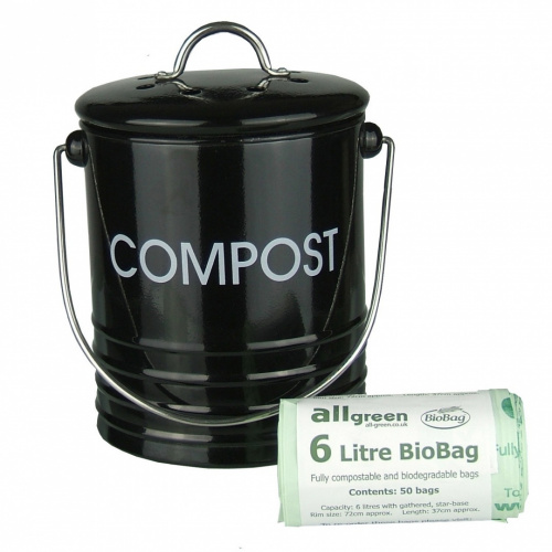 black metal kitchen compost caddy 50x 6l all green. Black Bedroom Furniture Sets. Home Design Ideas