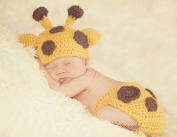 Baby Boy Girl Toddler Crochet Giraffe Hat and Nappy Cover Set Party Shower Costume Beanie Photography