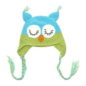 Kids Baby Boy Girl Crochet Sleepy Owl Hat Beanie Photography Prop Aqua Blue & Lime Green