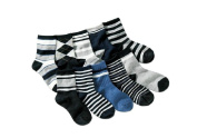 Colourful Baby World Toddler Boy Kid Mixed Socks Bundle 5-pack Cheque Stripe Black Grey Age 3 4 5 6 7