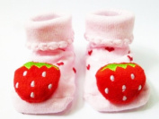 Strawberry - Irresistibly Cute Baby Boy Girl 3D Bootie Socks Anti / Non Slip 0-12 months