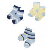 Baby Boys Cute Socks 3 Pairs - Stripey Blue & Lemon Design (3-6 Months