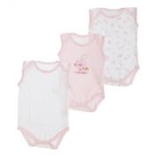 Baby Girls Bear Pattern Sleeveless Bodysuits (Pack Of 3) (Height