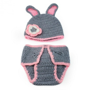 Cute Baby Newborn Grey Knitted Costume Rabbit Set Photo Photography Prop Outfit
