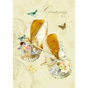 Baby 'Christening Day' little shoes greetings card