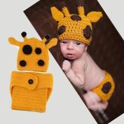 Generic Lovely Handmade Giraffe Theme Woollen Crochet Set Baby Newborn Outfit Photo Prop