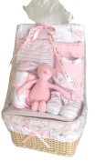 Bee Bo Baby Basket Gift Set 0 - 3 Months - Puppy / Elephant, Wrap, Bodysuit, Trousers, Bootees, Bib, Wash & Burp Cloths - Pink or Blue