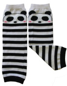 Leg warmers by Dotty Fish Black and white stripe Panda design - One Size Girls