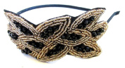 Black and Gold Beaded Leaf Headband Fascinator Great Gatsby Flapper 1920s g06