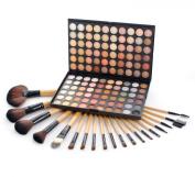Frola Cosmetics Professional 120 Warm Colours Eyeshadow Makeup Palette #04 + 19 Pcs Makeup Brush Set