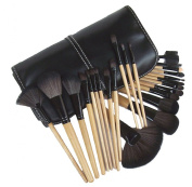 Professional 24pcs Natural Wooden handle Black/brown Make Up Brush Set with Case