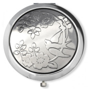 Vanroe 'Rose & Swallow' Bird Designer Compact Mirror in Gift Box - Magnified, Engravable, traditional 'good luck' leaving present idea, British Pewter