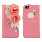 Ukamshop(TM)Pink Flowers Flip Wallet Leather Case Cover for iPhone 5C