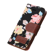 Black Magnetic Wallet Floral Jacquard Leather Cover Case For iPhone 5C